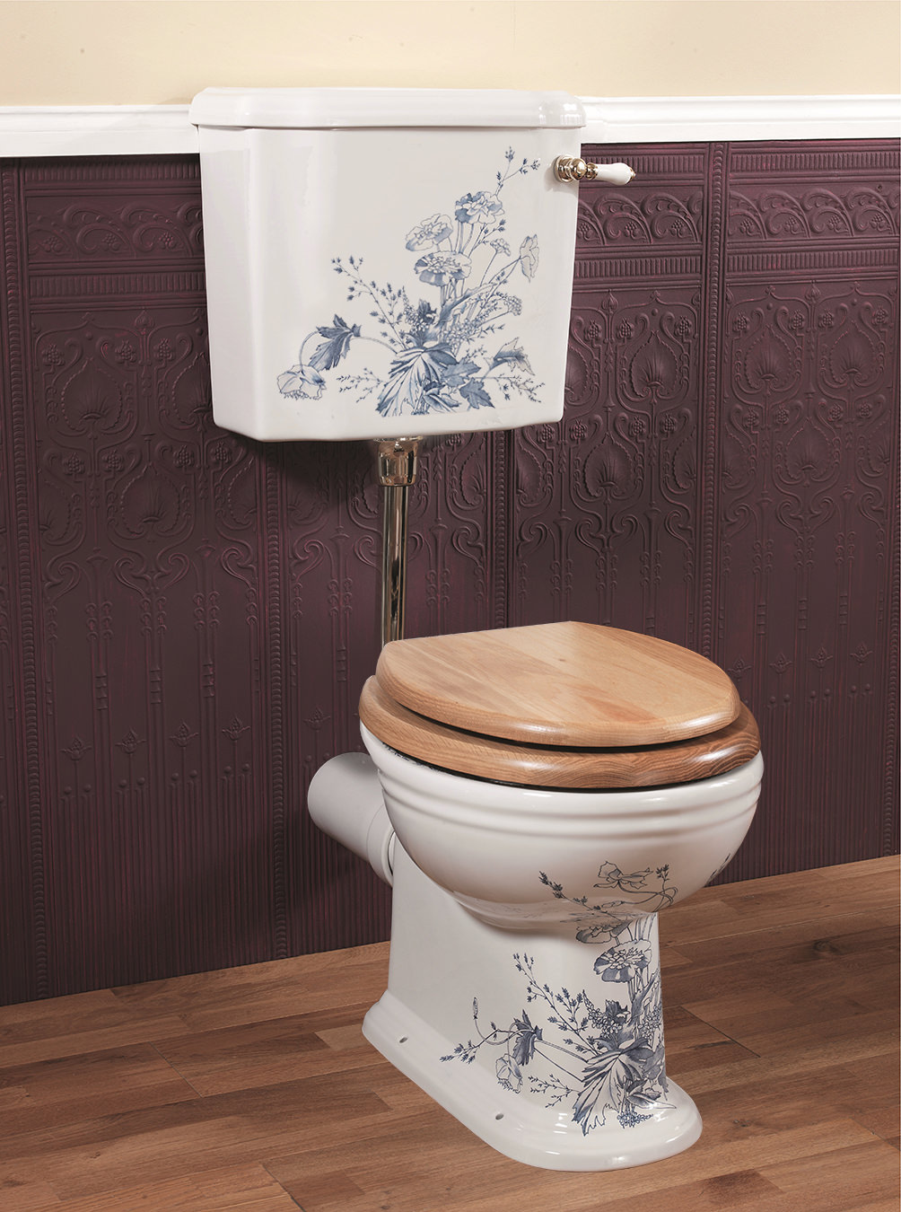 Silverdale Victorian Blue Garden Low Level Wc And Cistern