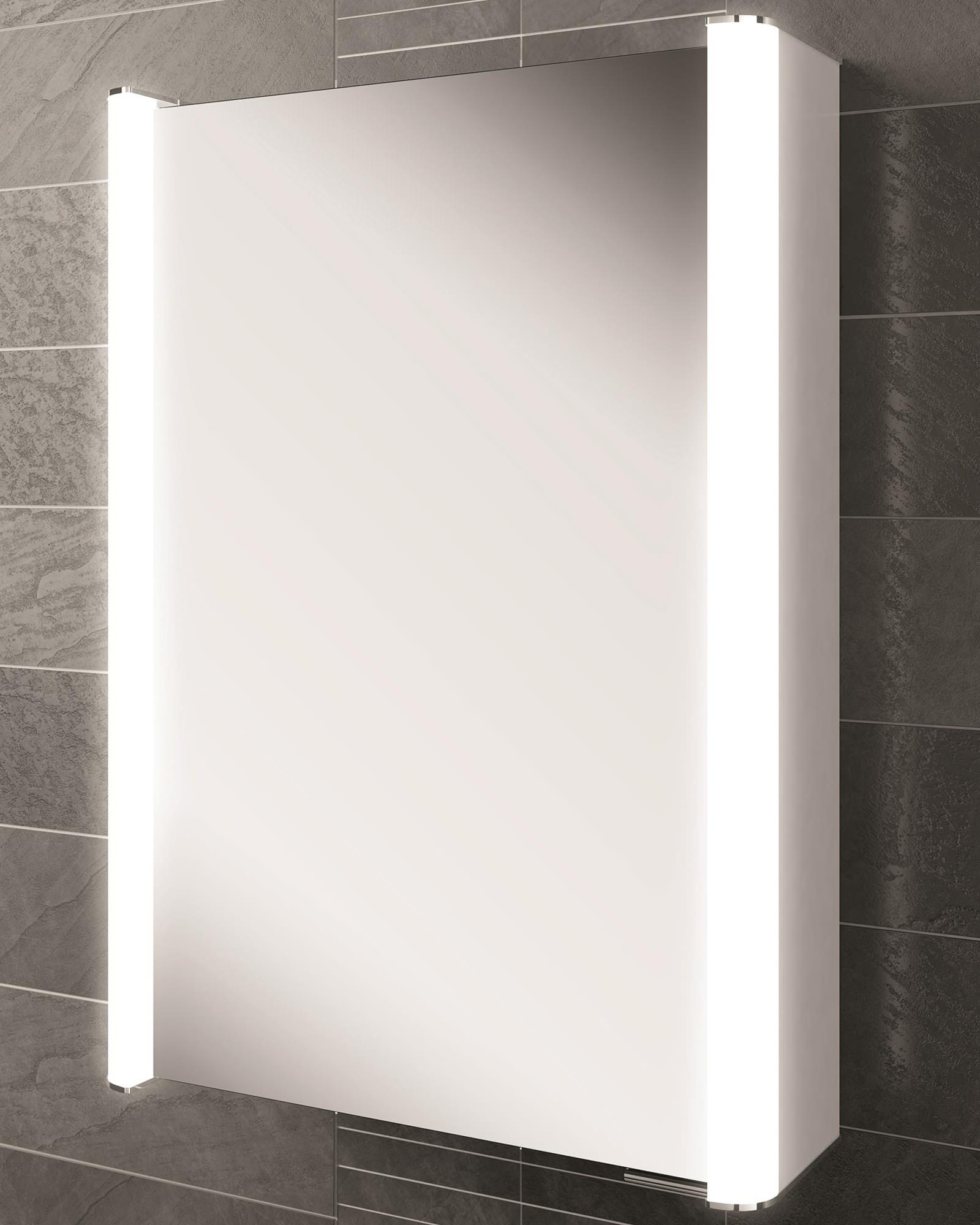 HIB Vita 50 Single Door LED Illuminated Mirror Cabinet 500 X 700mm
