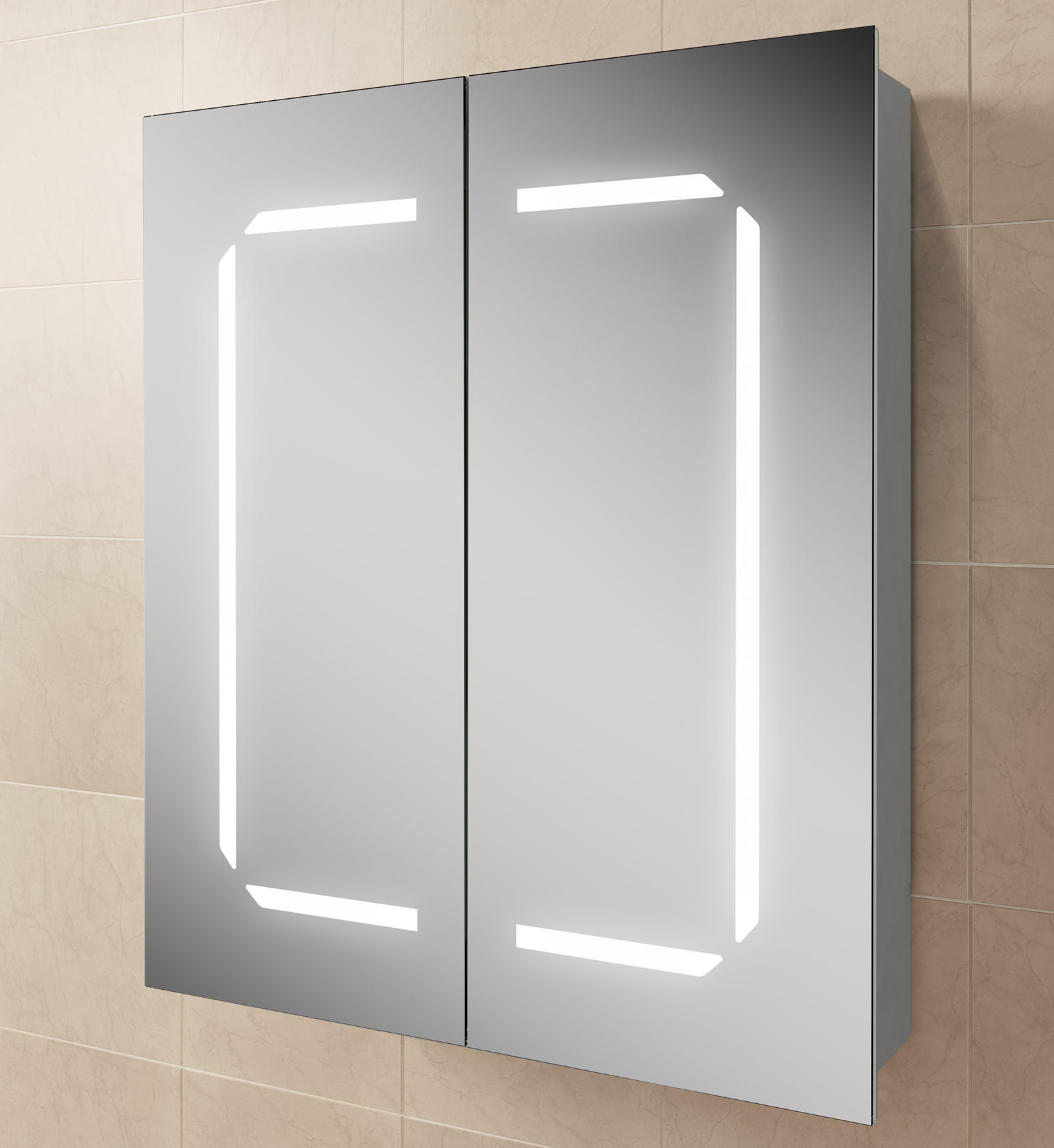 Hib zephyr 60 steam free aluminium mirrored cabinet 600 x for Bathroom cabinets 700mm