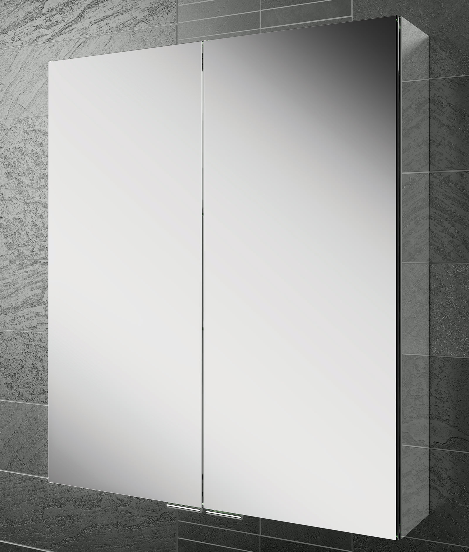 Hib Eris 60 Double Door Aluminium Mirrored Cabinet 600 X