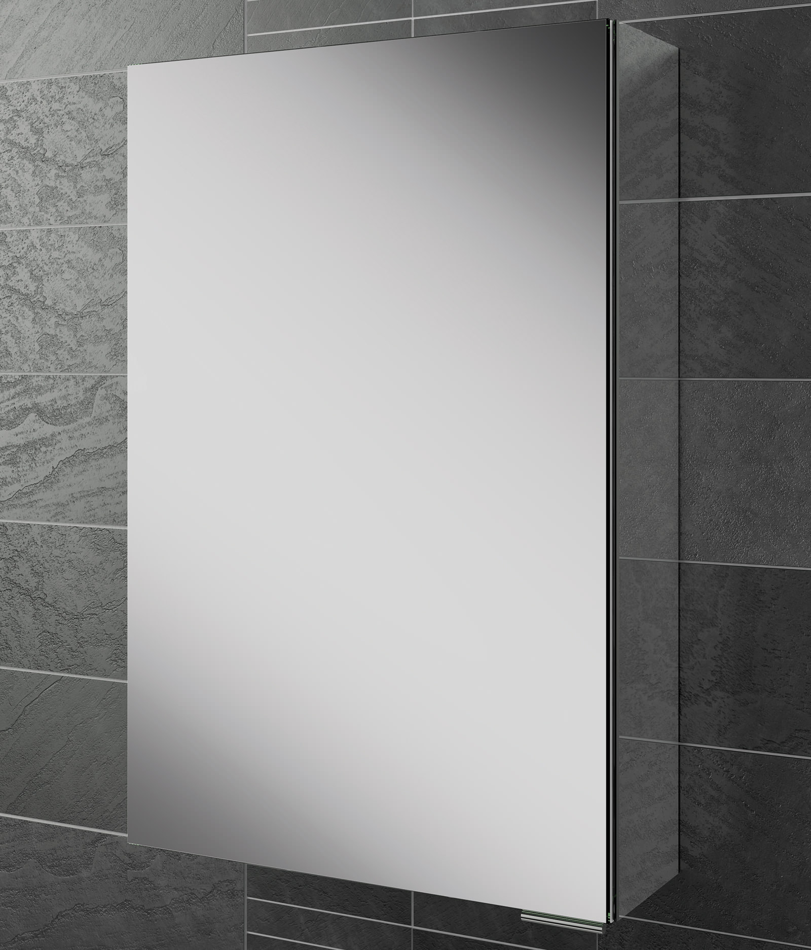 Hib Eris Single Door Aluminium Mirrored Cabinet 400 X