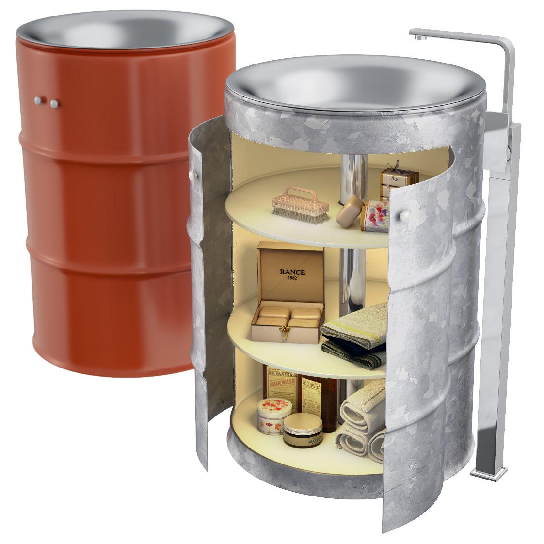Qs Supplies Floor Standing Barrel Basin Vanity Unit M404441