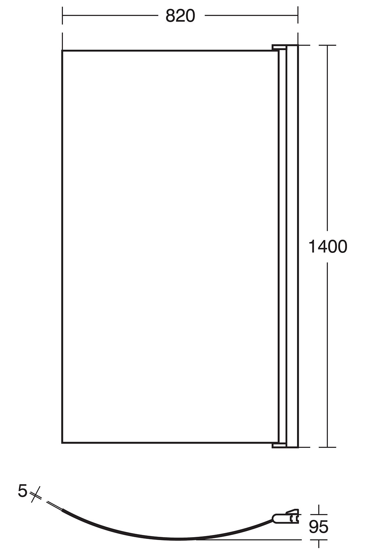 ideal standard tempo arc 820 x 1400mm shower bath screen 1000mm bath shower screen modern frameless designer glass