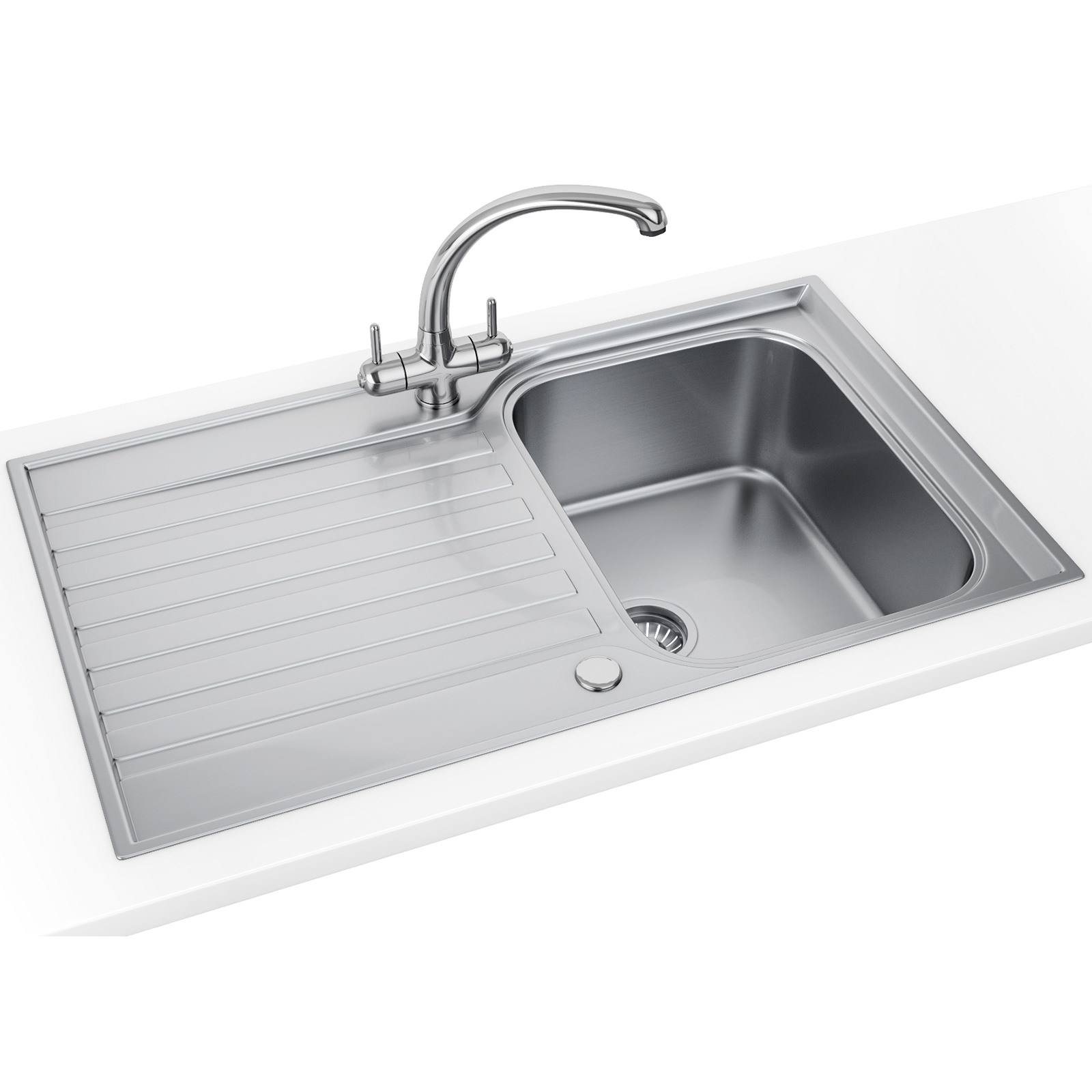 Sink bowl bathroom - Franke Ascona Asx 611 860 Stainless Steel 1 0 Bowl Inset