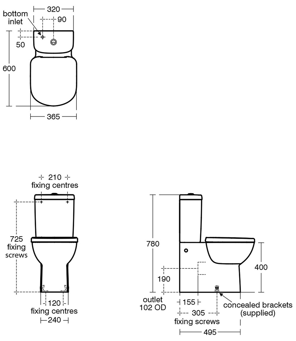 Ideal Standard Tempo Close Coupled Back To Wall Wc Pan