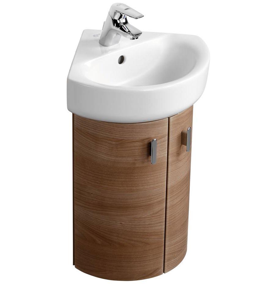 Ideal standard concept wall 370 x 380mm 2 door corner basin unit