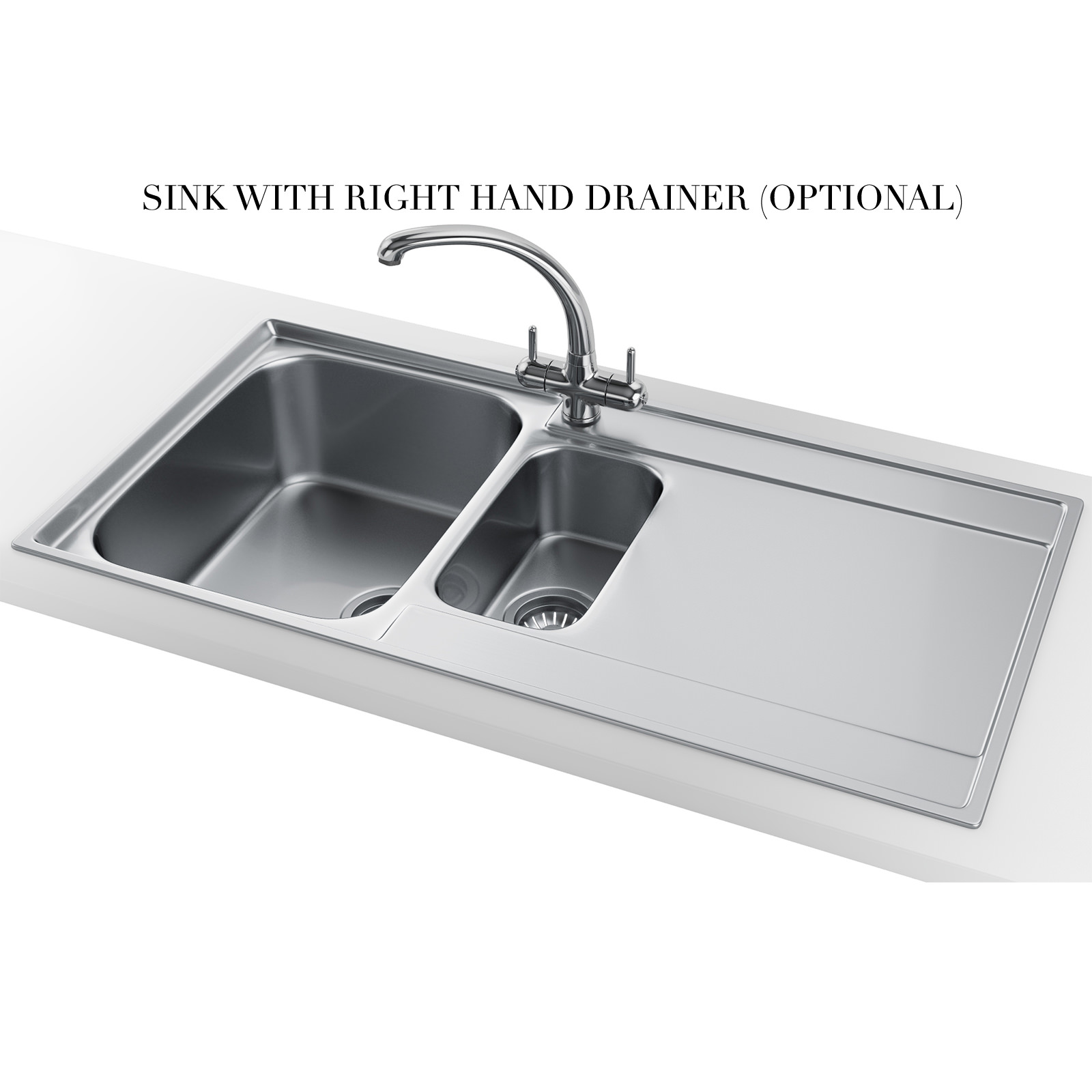 Slimline Stainless Steel Kitchen Sink - 3d House Drawing •