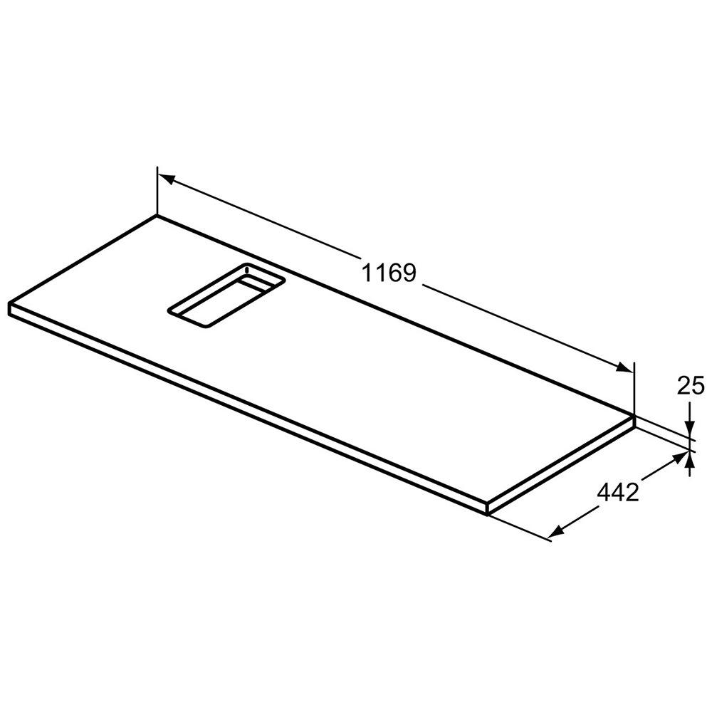 Pre Cut Kitchen Worktops : Ideal Standard Strada 1200mm Worktop With Left Hand Pre-Cut