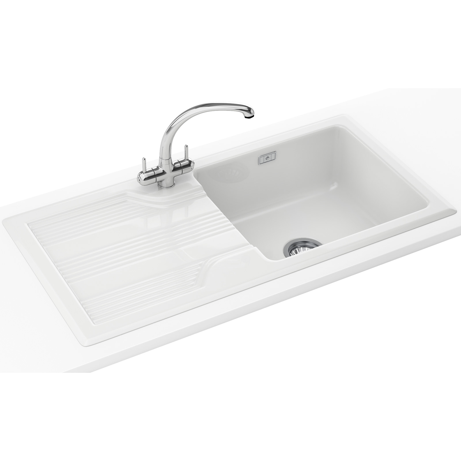 Franke Sinks And Taps : Franke Galassia Propack GAK 611 Ceramic White Inset Sink And Tap 124 ...