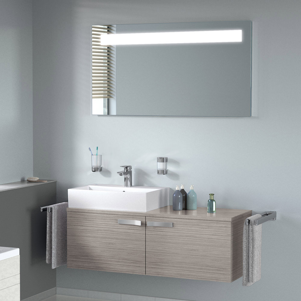 ideal standard strada mirror with light 1200 x 650mm k2674bh. Black Bedroom Furniture Sets. Home Design Ideas