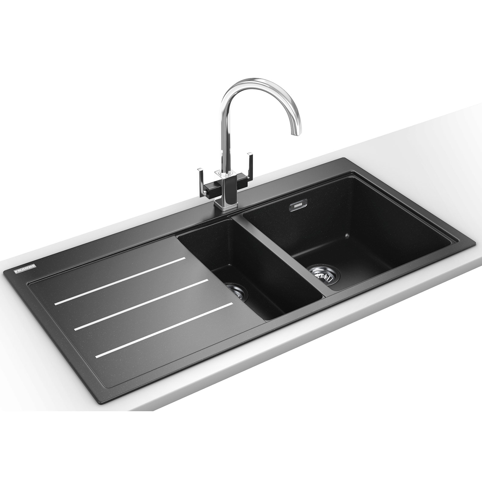 Franke mythos fusion mtf 651 100 fragranite onyx 1 5 bowl inset sink - Designer sinks ...