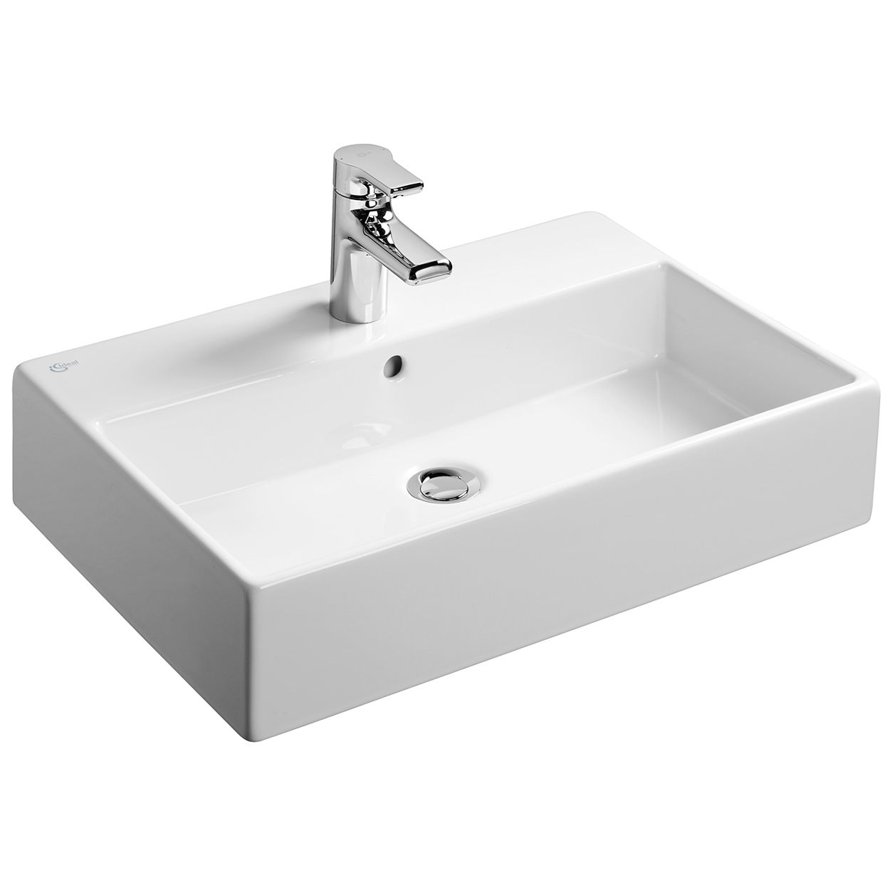 ideal standard strada 500mm 1 tap hole glazed back vessel basin. Black Bedroom Furniture Sets. Home Design Ideas