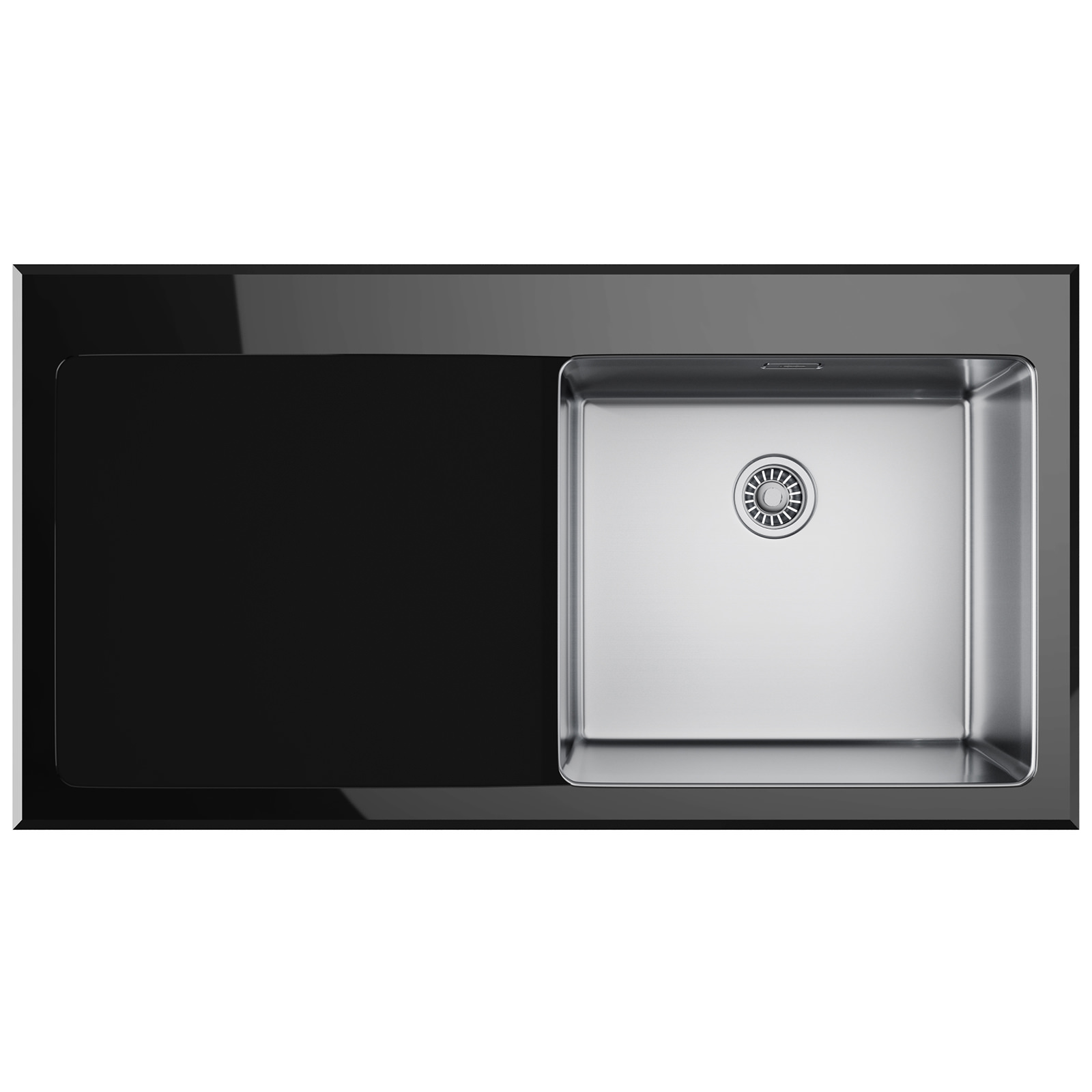 Franke Black Kitchen Sink: Franke Kubus KBV 611 Black Glass 1.0 Bowl Inset Kitchen
