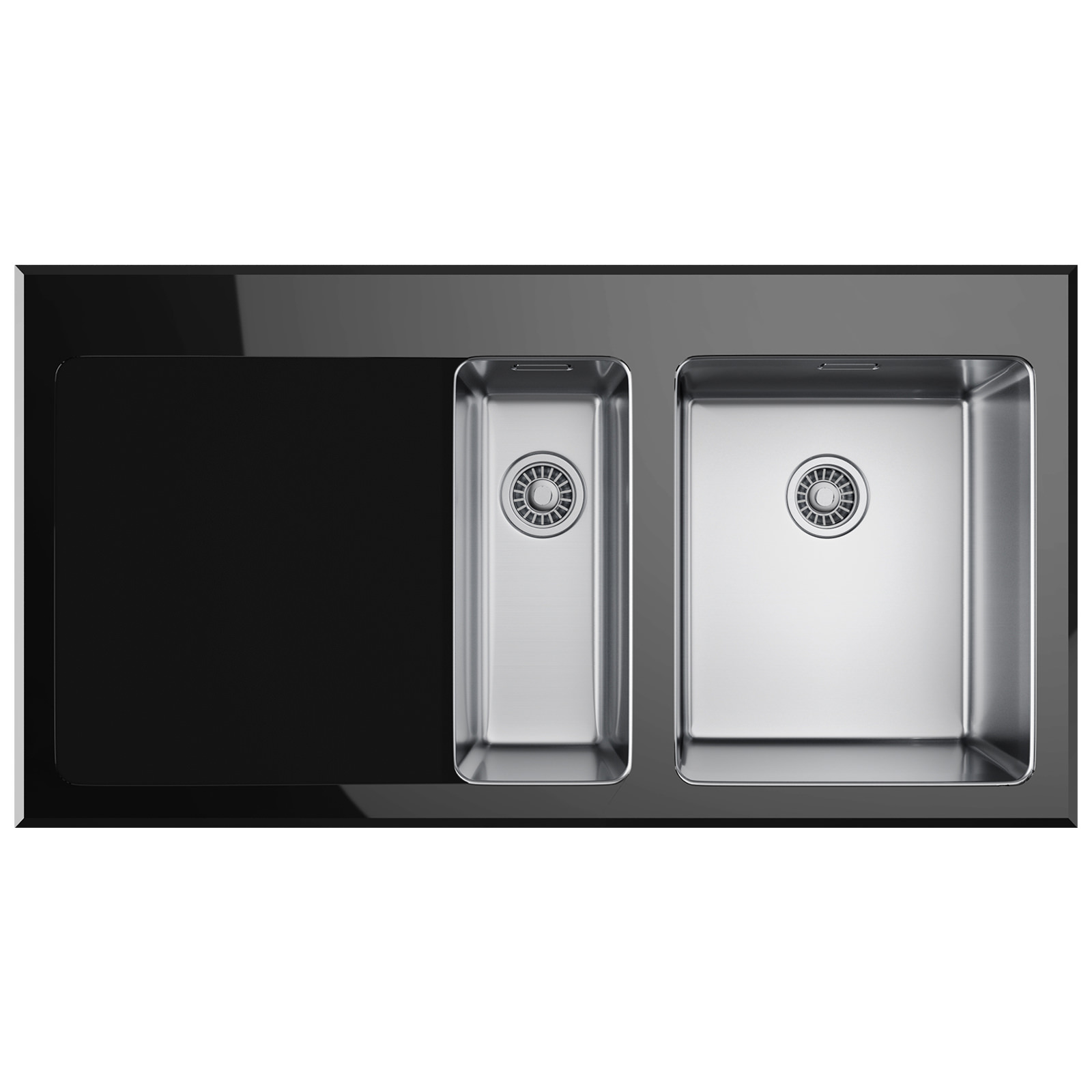Franke Kubus KBV 651 Black Glass 1.5 Bowl Inset Kitchen Sink ...