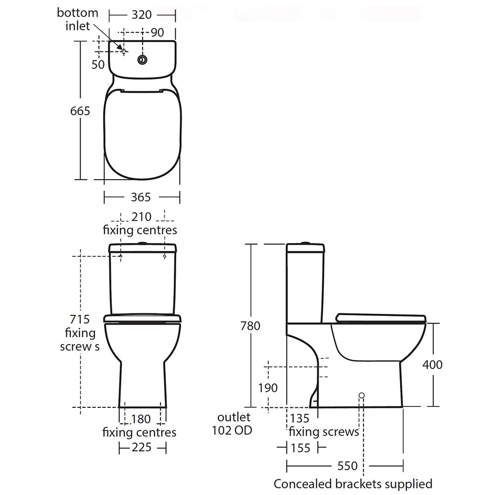 ideal standard tempo close coupled wc pan with vertical