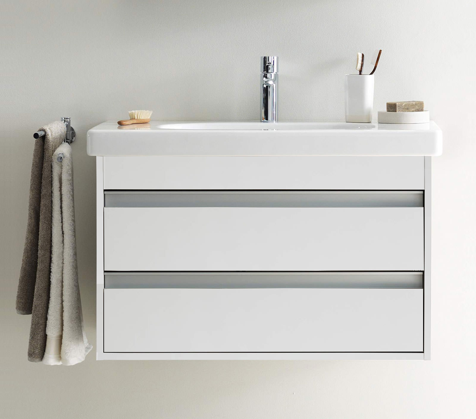 Duravit ketho 850mm 2 drawers unit with 850mm starck 3 - Duravit bathroom furniture uk ...