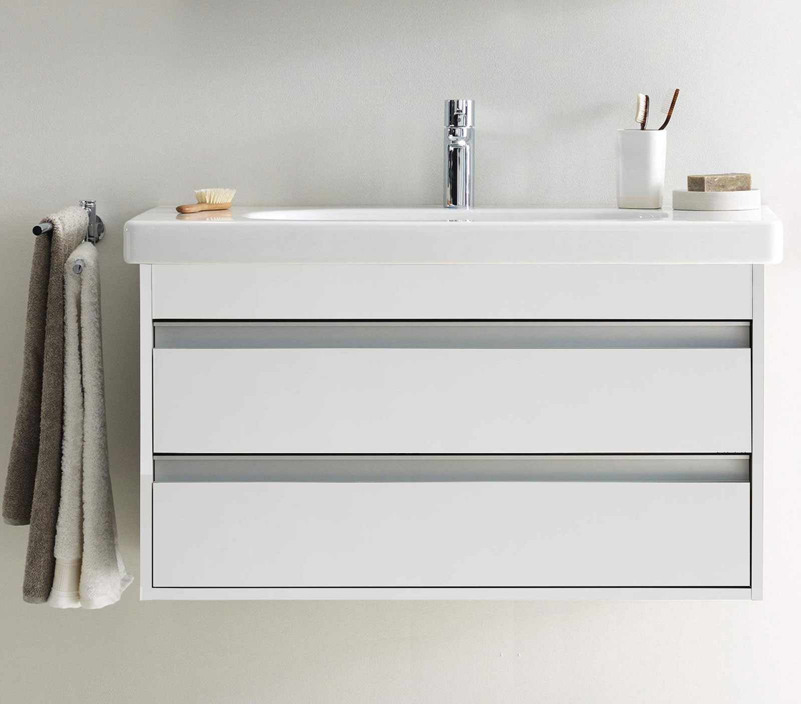 Duravit ketho 1000mm 2 drawers unit with 1050mm starck 3 for 1000mm kitchen drawer unit