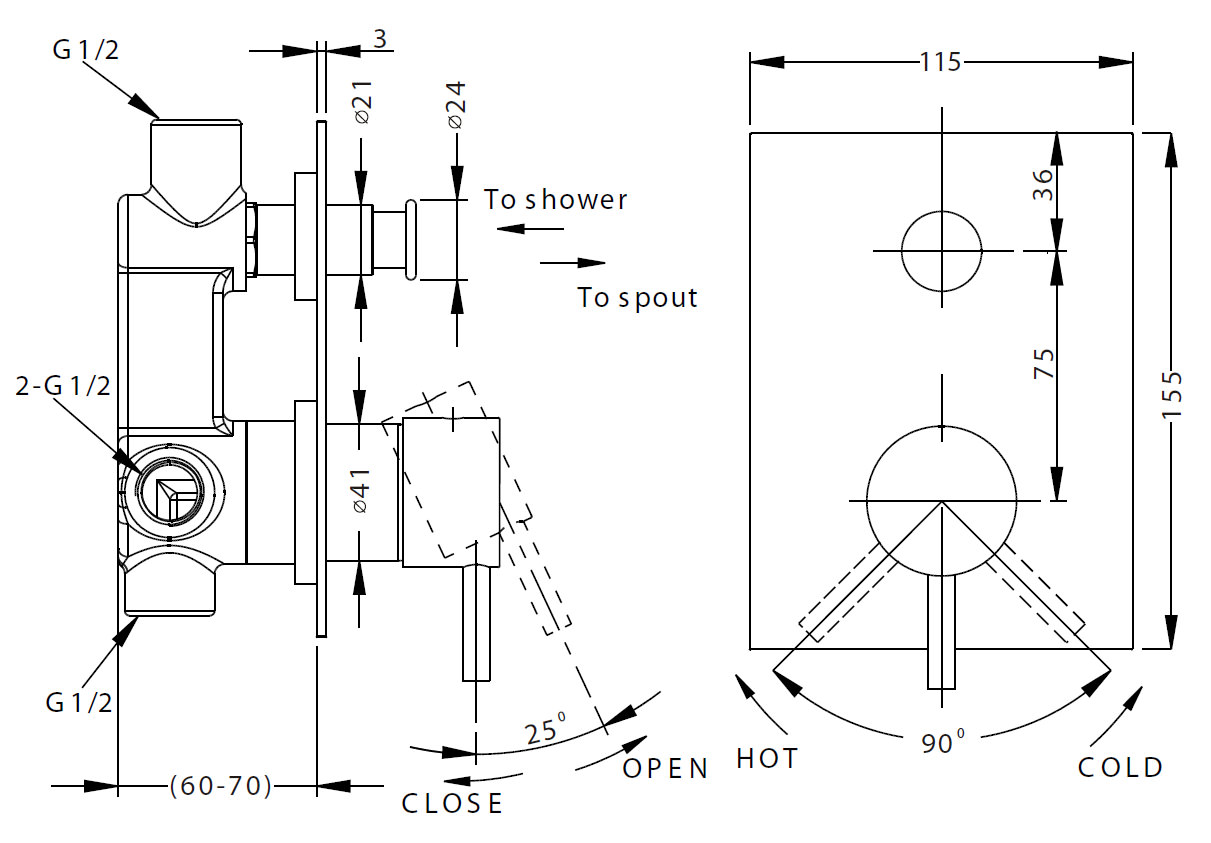 Crosswater Kai Lever Recessed Manual Shower Valve Without Diverter Schematic Additional Image Of