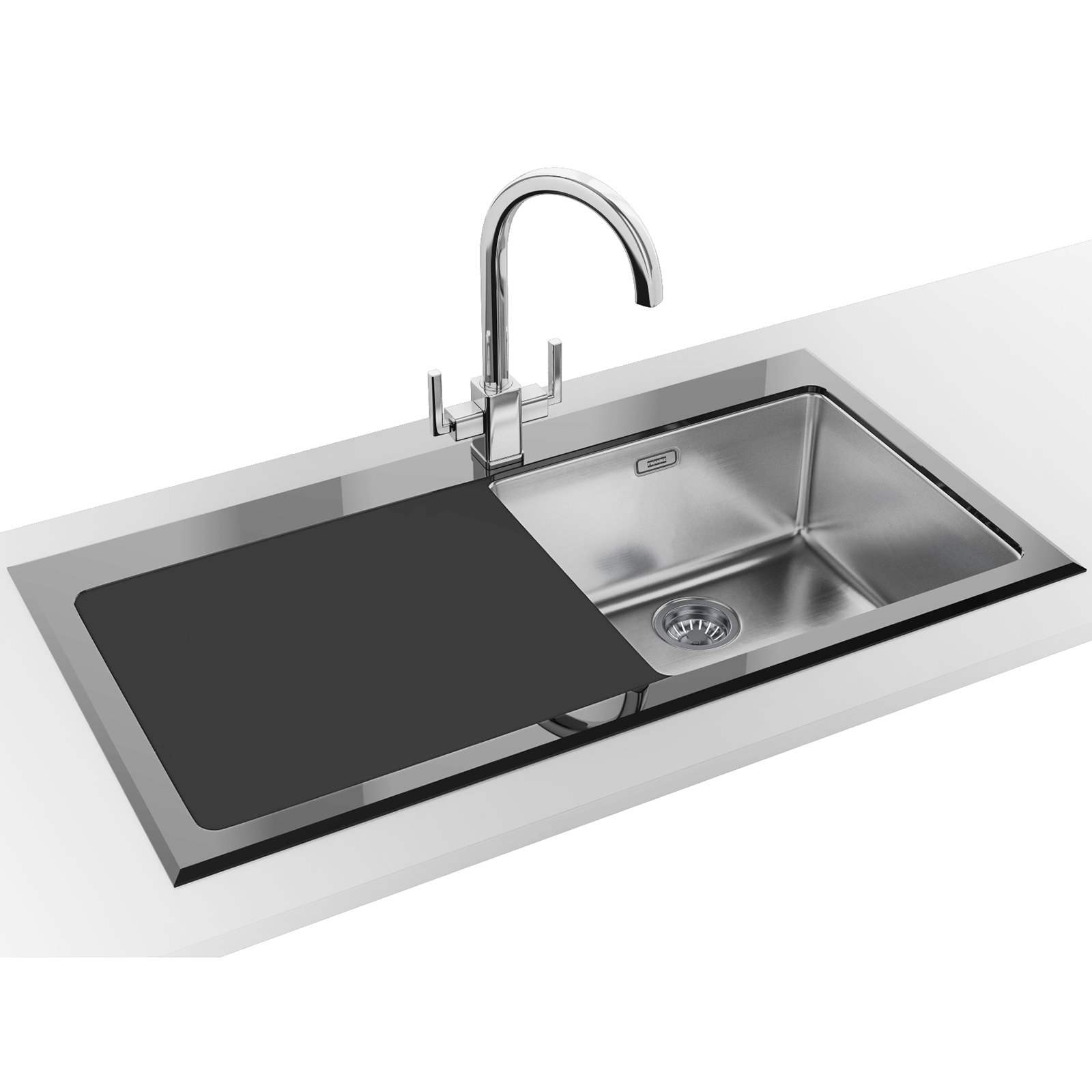 Franke Kubus Designer Pack Kbv 611 Black Glass Inset Sink And Tap 1010052390