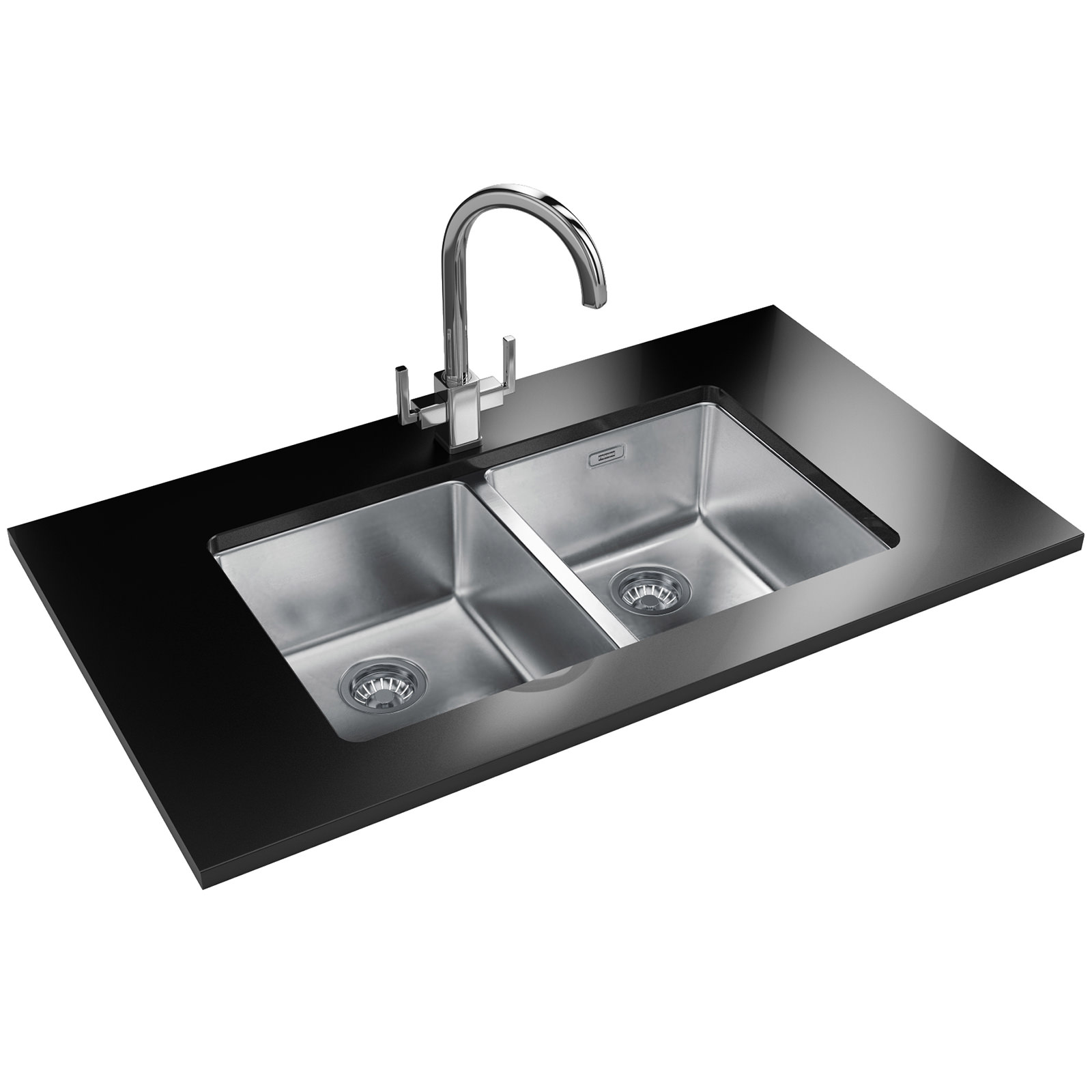 Franke Kubus KBX 120 34-34 Stainless Steel 2 Bowl Undermount Sink ...