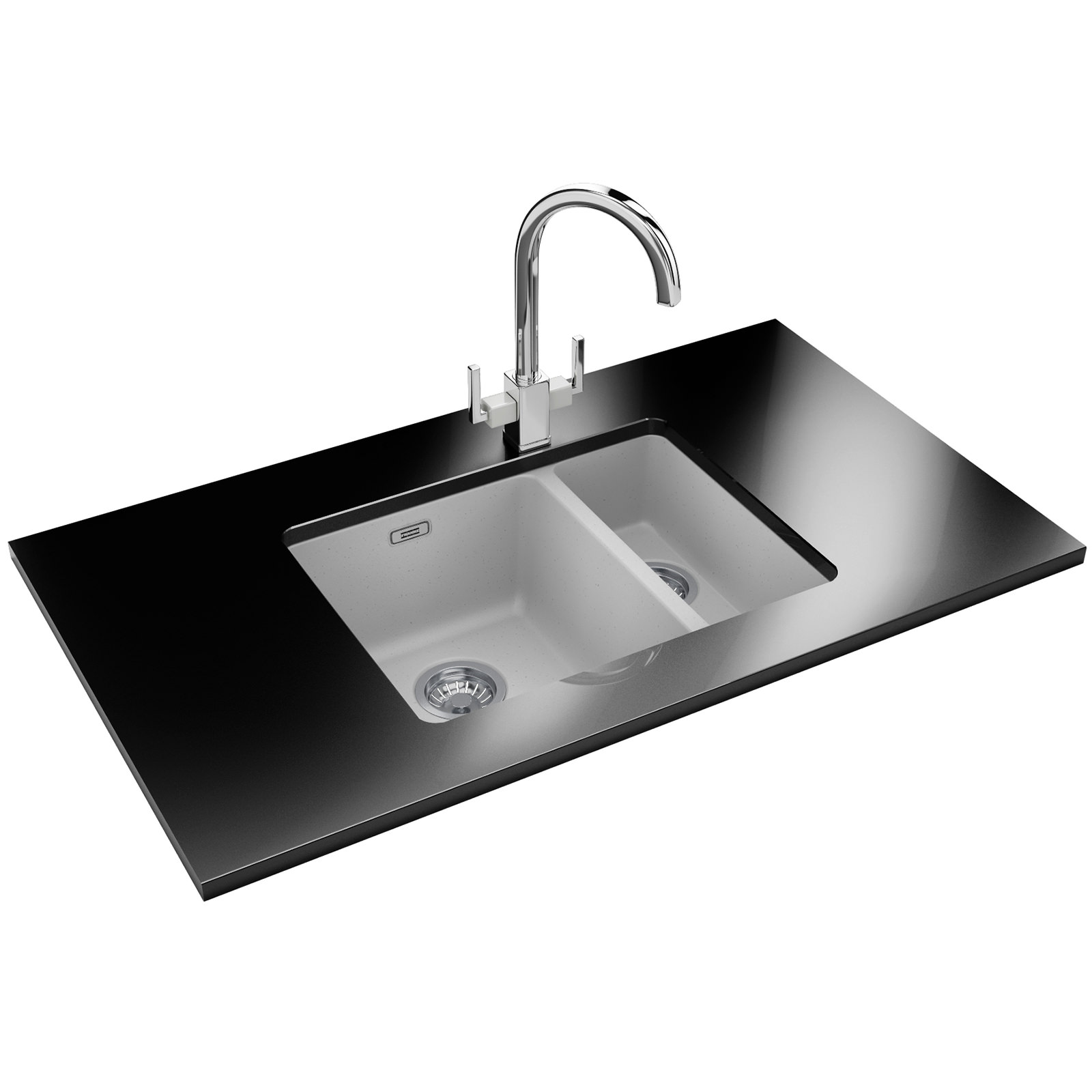 Franke Sinks And Taps : Franke Kubus Designer Pack KBG 160 Fragranite Polar White Sink And Tap ...