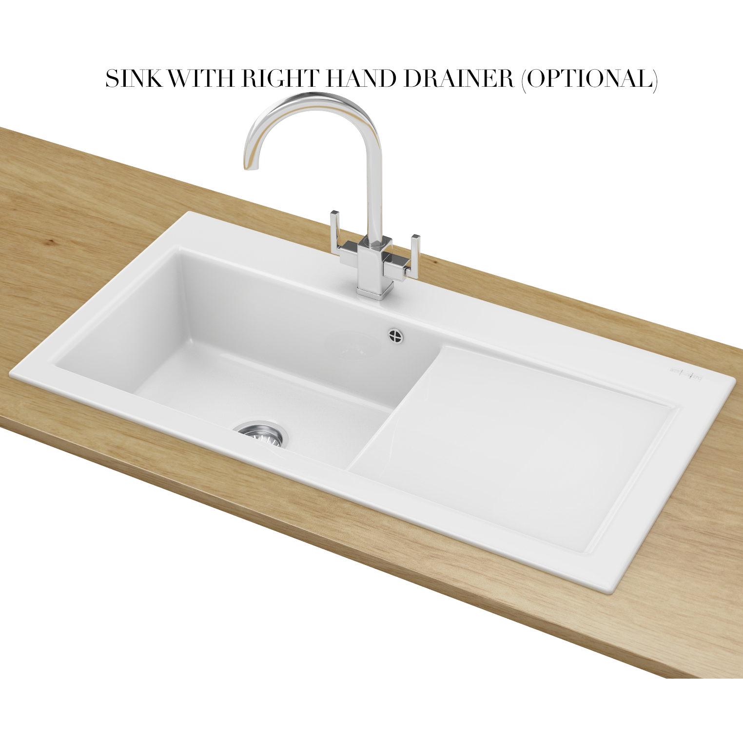 Franke White Ceramic Sink : Franke Mythos MTK 611 Ceramic White 1.0 Bowl Inset Sink 124.0050.117