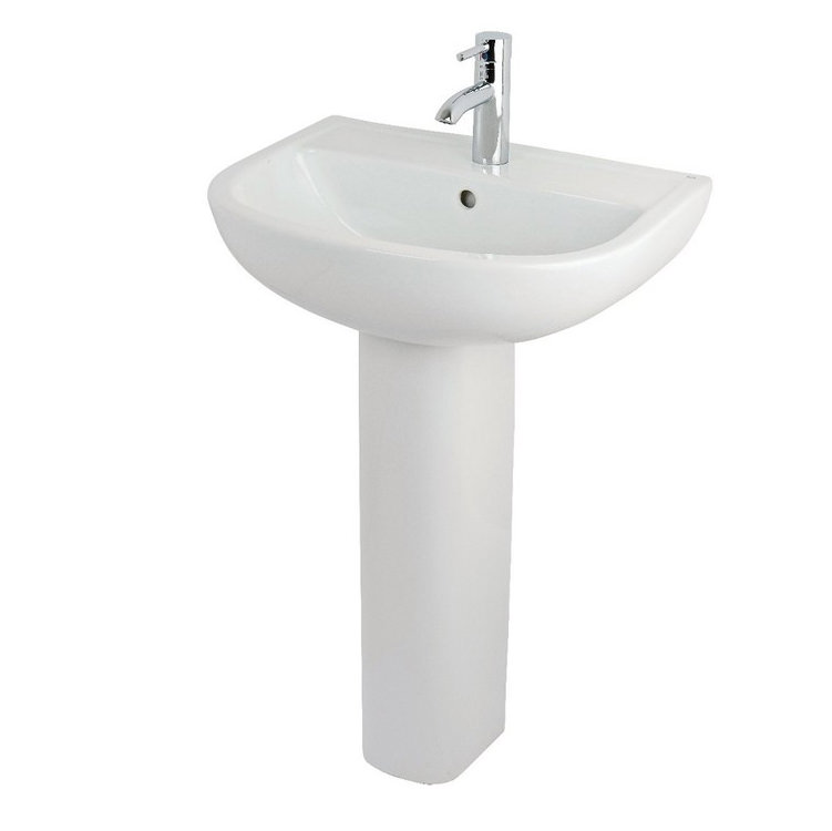 ... bathroom sinks essential lily 45cm basin with small full pedestal