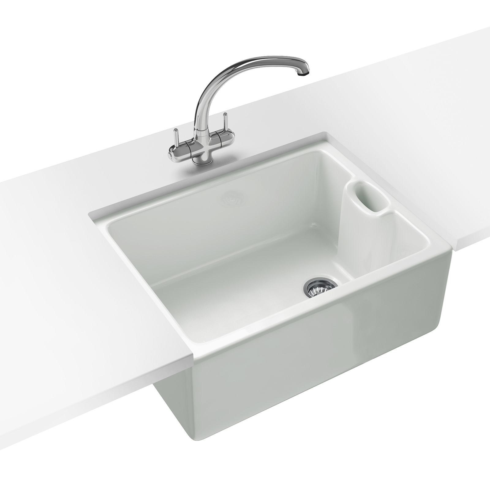White Kitchen Taps: Franke Belfast Propack BAK 710 Ceramic White Kitchen Sink