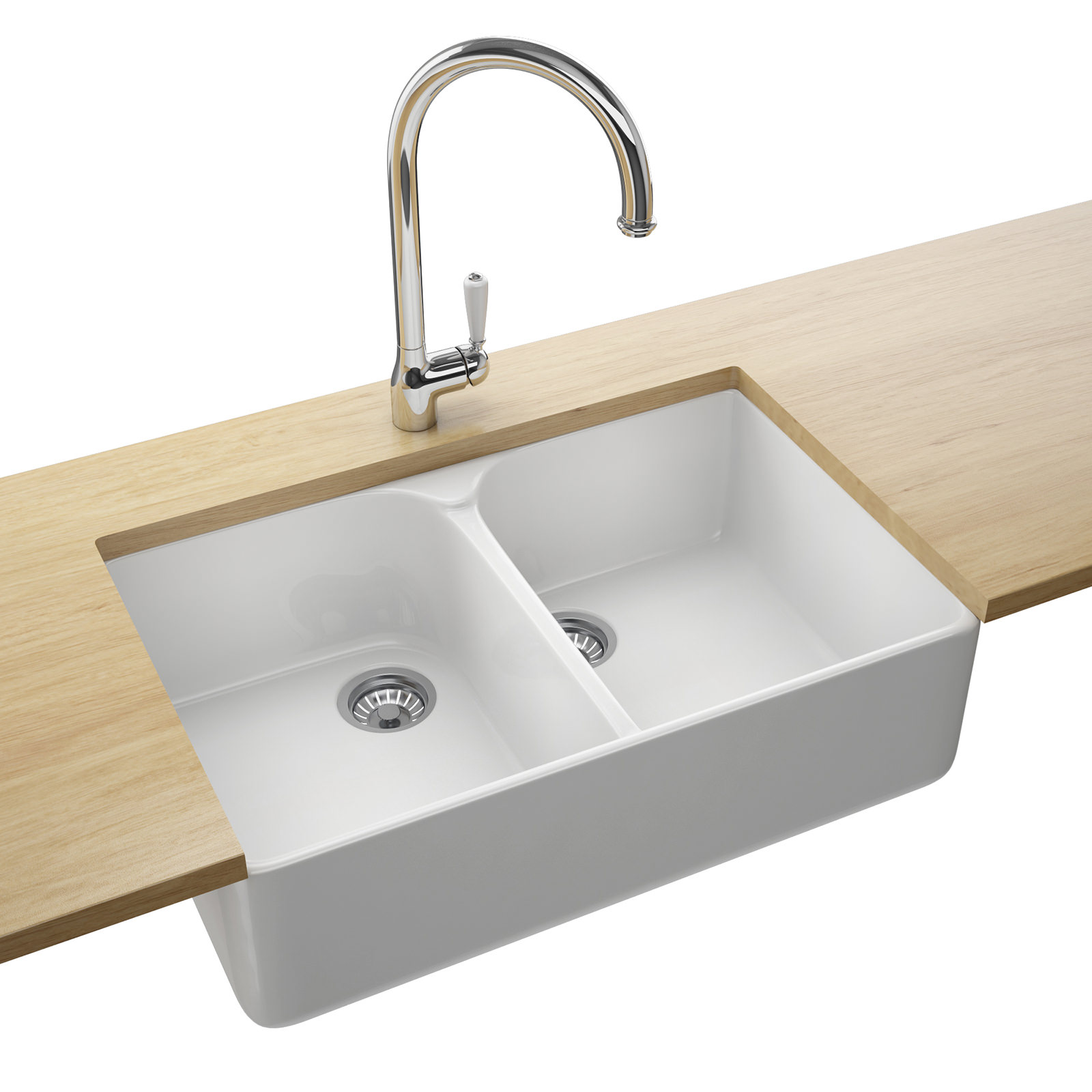 Franke Belfast VBK 720 White Ceramic 2.0 Bowl Kitchen Sink