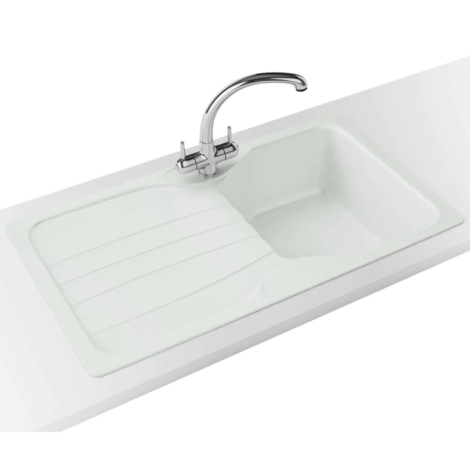 Franke Calypso Propack COG 611 Fragranite Polar White Kitchen Sink And Tap  ...
