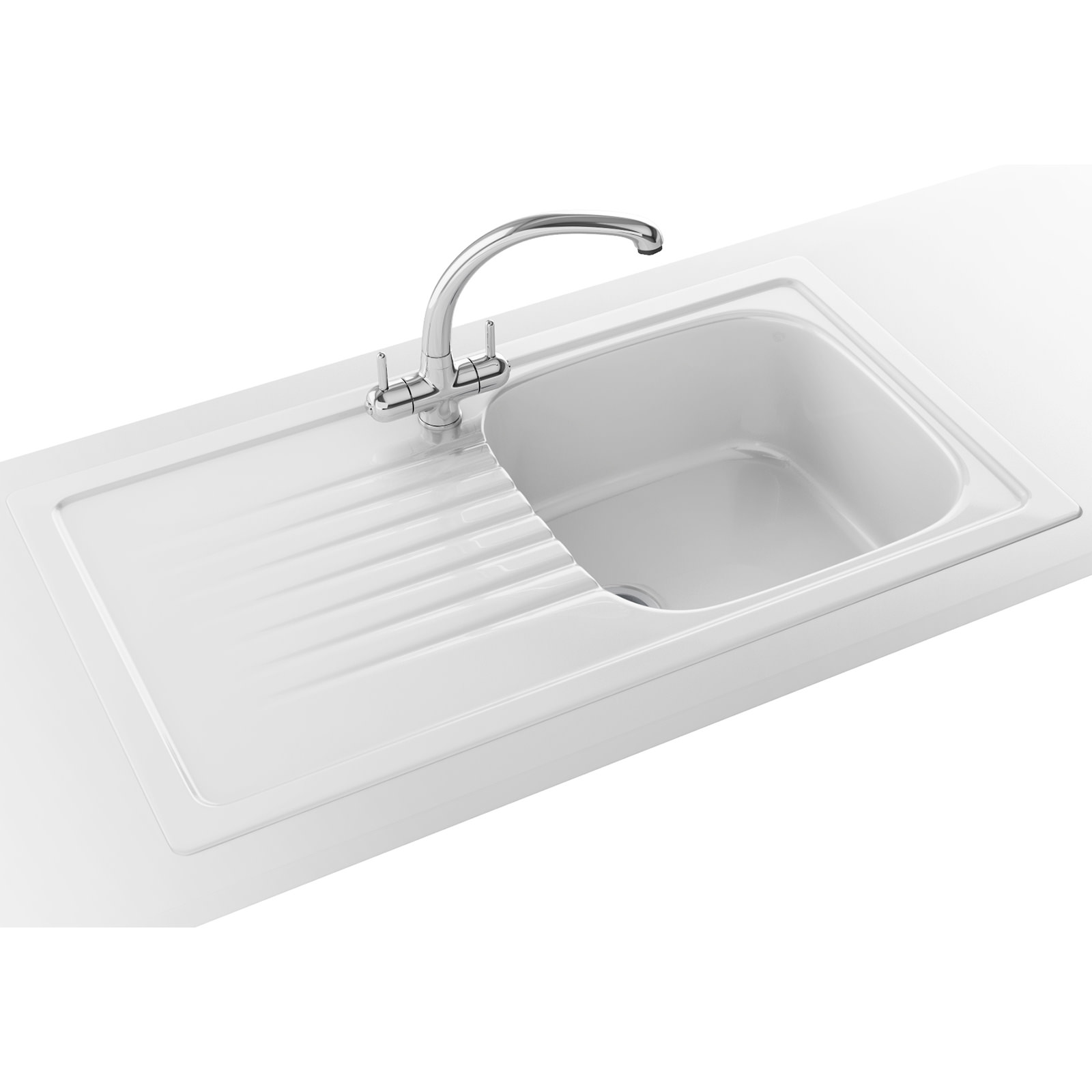 Franke Elba ELK 611 Ceramic White 1.0 Bowl Kitchen Inset Sink ...