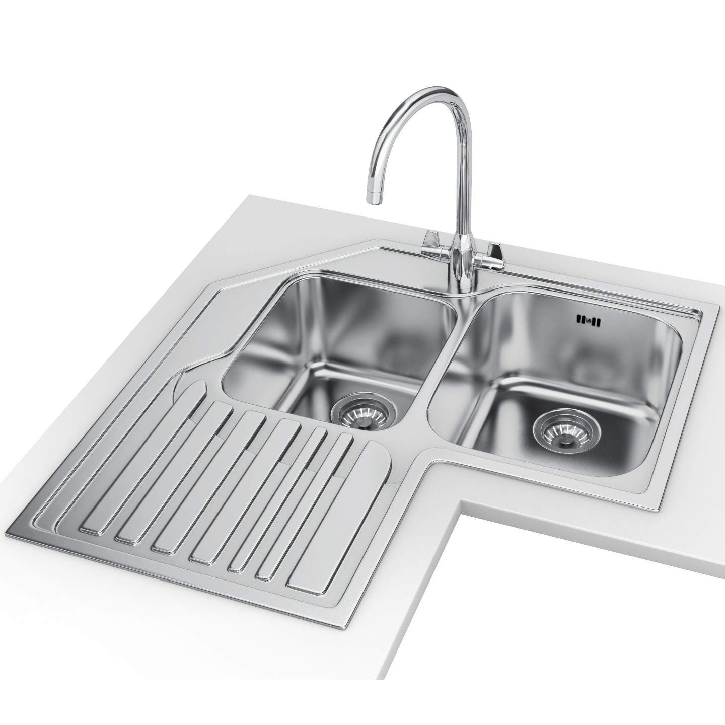 Franke Studio Designer Pack STX 621 E Stainless Steel Corner Sink And Tap  ...