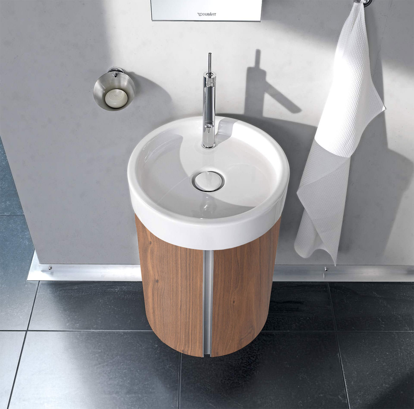 Duravit Wall Hung Basin : Duravit Starck Wall Mounted 450mm Circular Vanity Unit And 470mm Basin