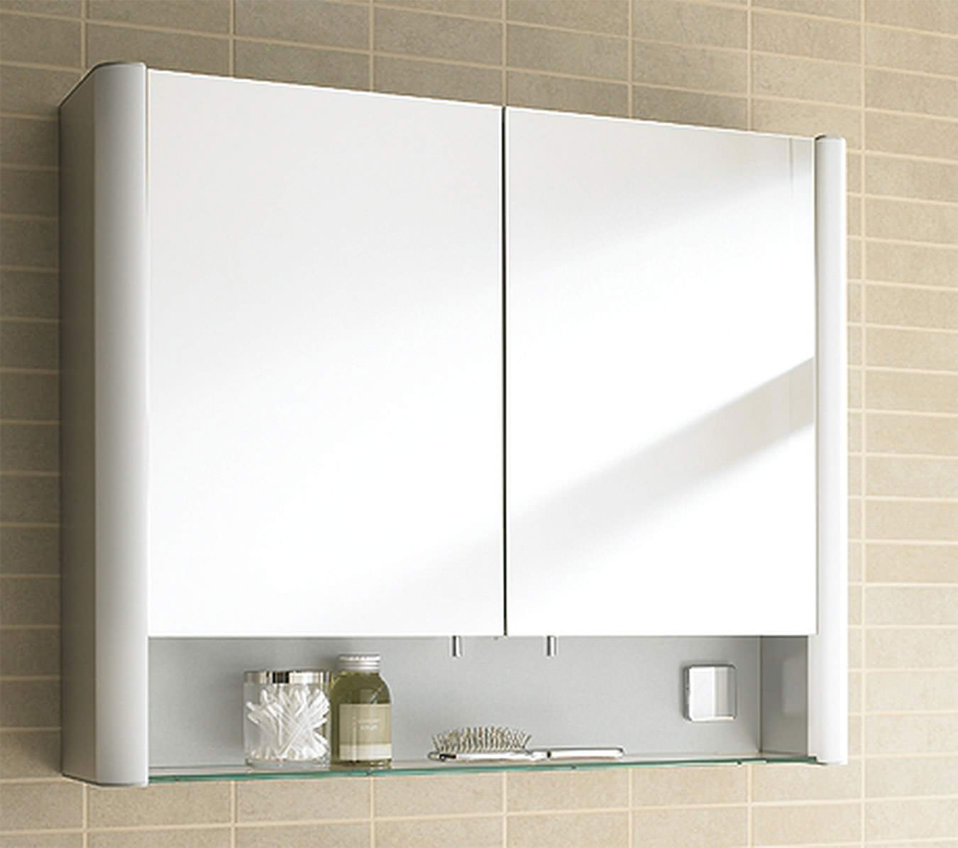 TANGKULA Mirrored Bathroom Cabinet Wall Mount Storage