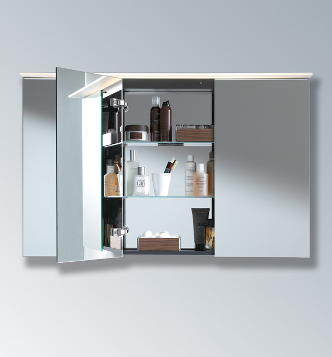 Bathroom wall cabinet with glass doors - Duravit Delos 3 Doors Mirror Cabinet Dl754300000