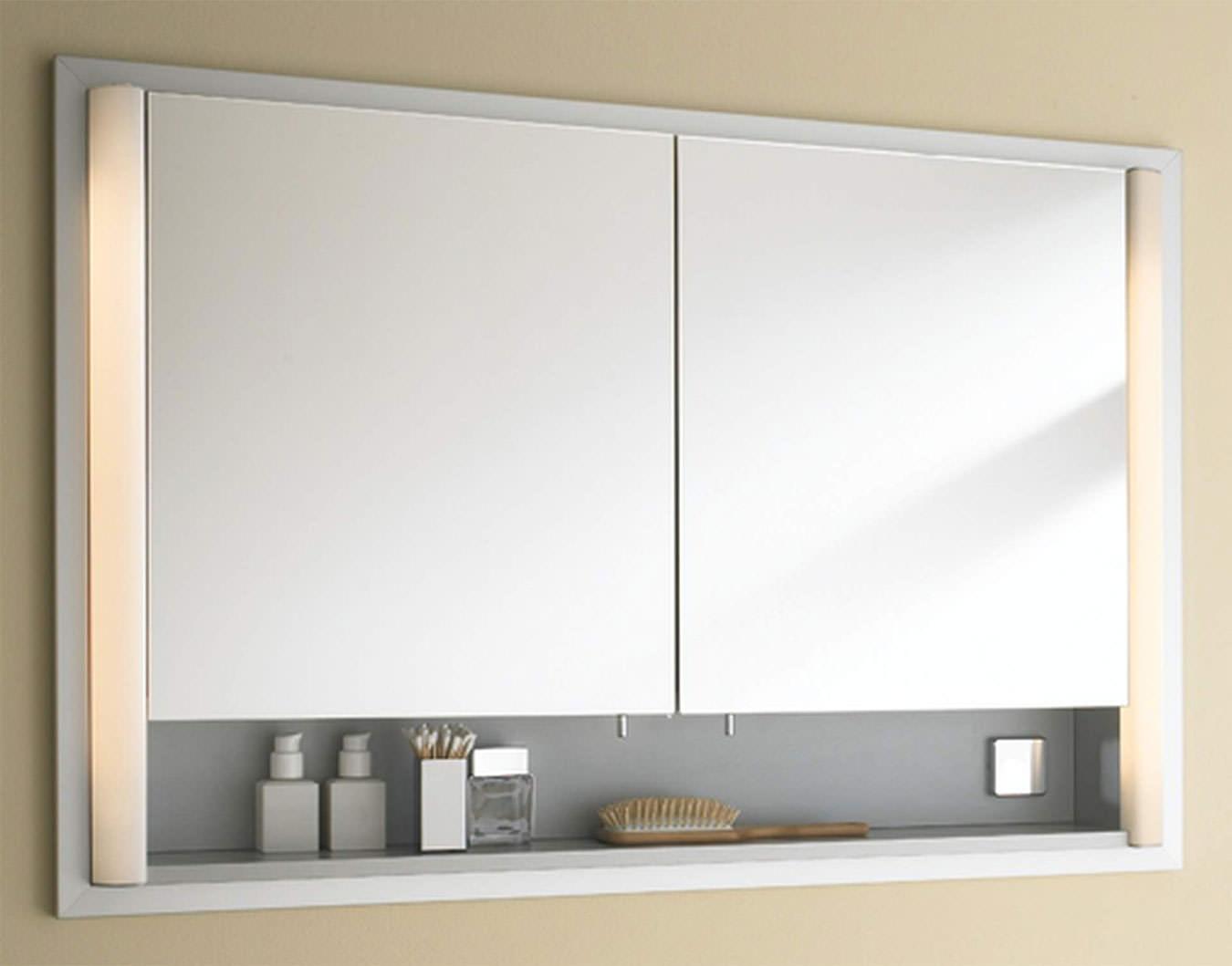 Duravit 600mm 2 door built in mirror cabinet with open shelf lm9705