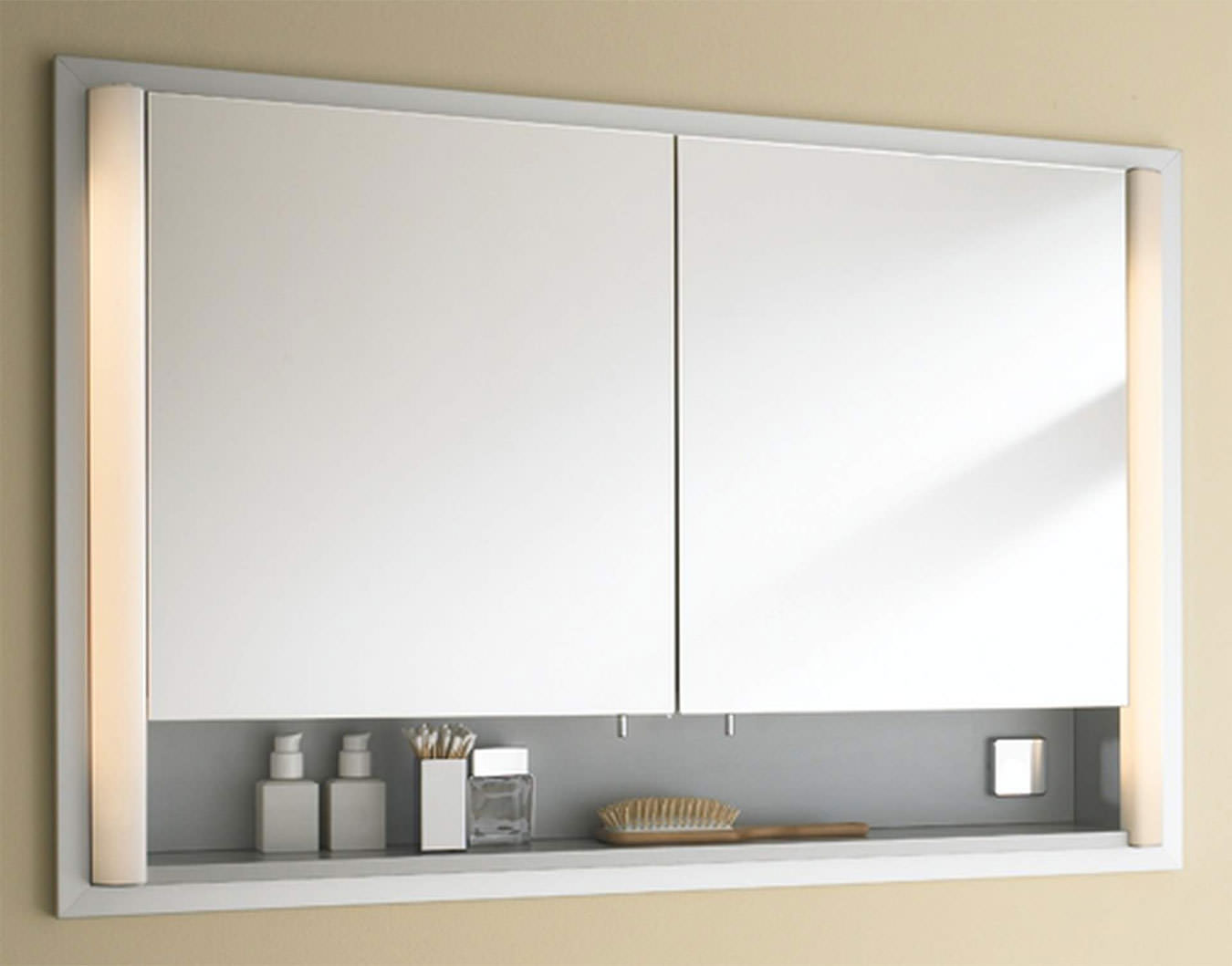 Duravit 800mm 2 Door Built In Mirror Cabinet With Open