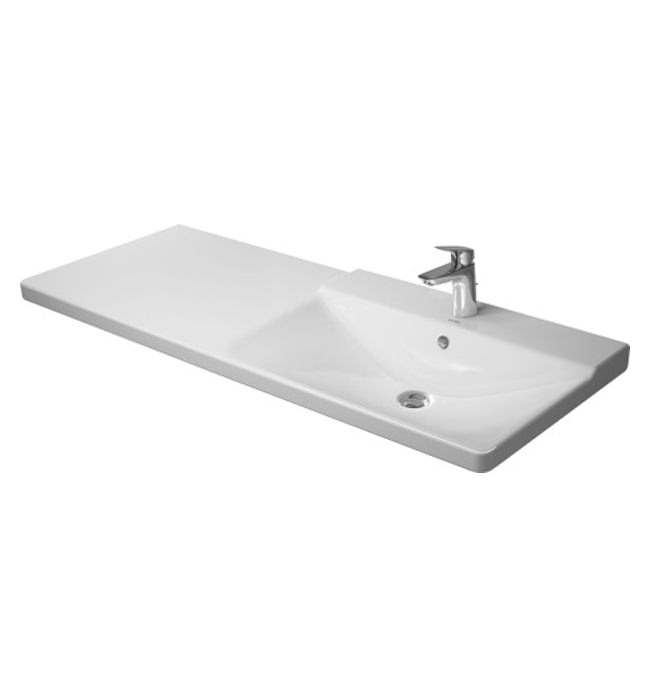 duravit p3 comforts 1250mm bowl on right asymmetric basin 233412. Black Bedroom Furniture Sets. Home Design Ideas