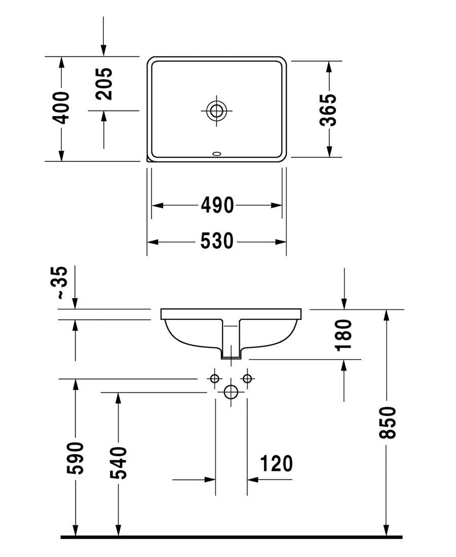Duravit P3 Comforts 490mm Undercounter Basin 0305490000
