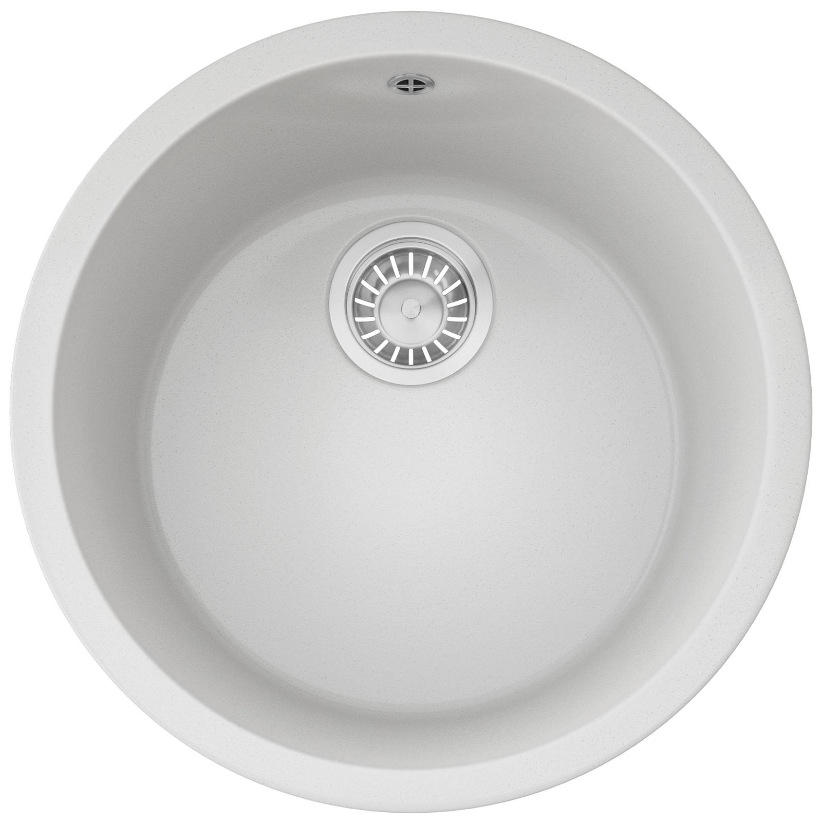 Franke Rotondo RBG 610 Fragranite Polar White 1.0 Bowl Inset Kitchen Sink  ...