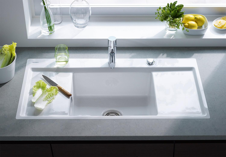 Duravit Kiora 60 Z Central Bowl Flush Mount Kitchen Sink