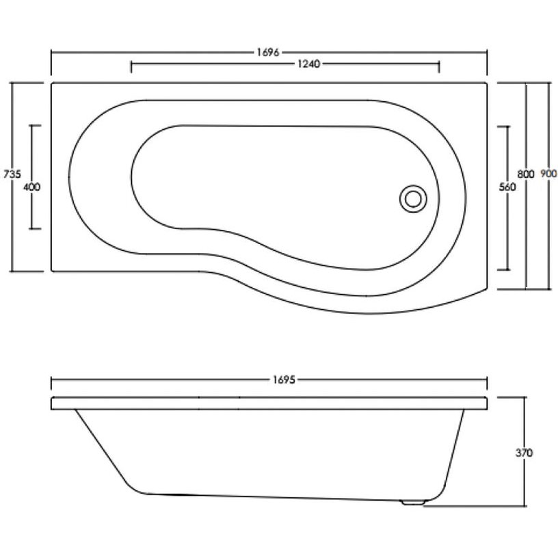 Premier Curved B Shaped 1700 X 900mm Right Hand Acrylic Shower Bath Bmp1785r