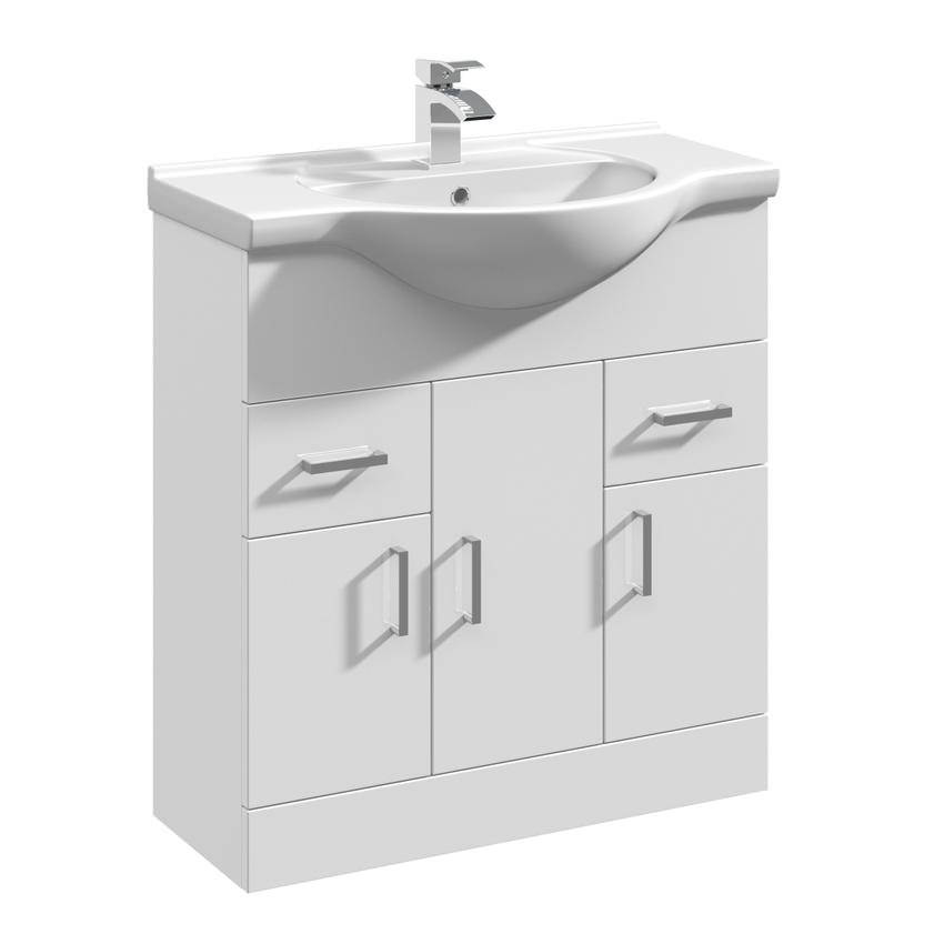 Beo gloss white 750mm 3 door and 2 drawer basin vanity unit for Large bathroom units