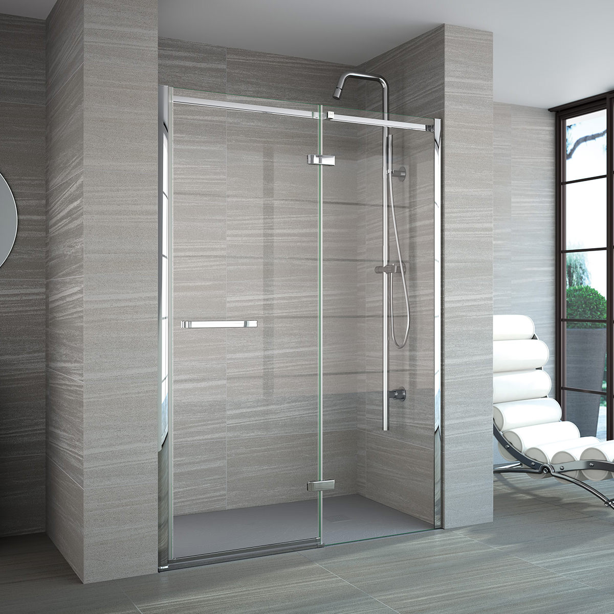 Merlyn 8 Series Recess Frameless Hinge And Inline Door