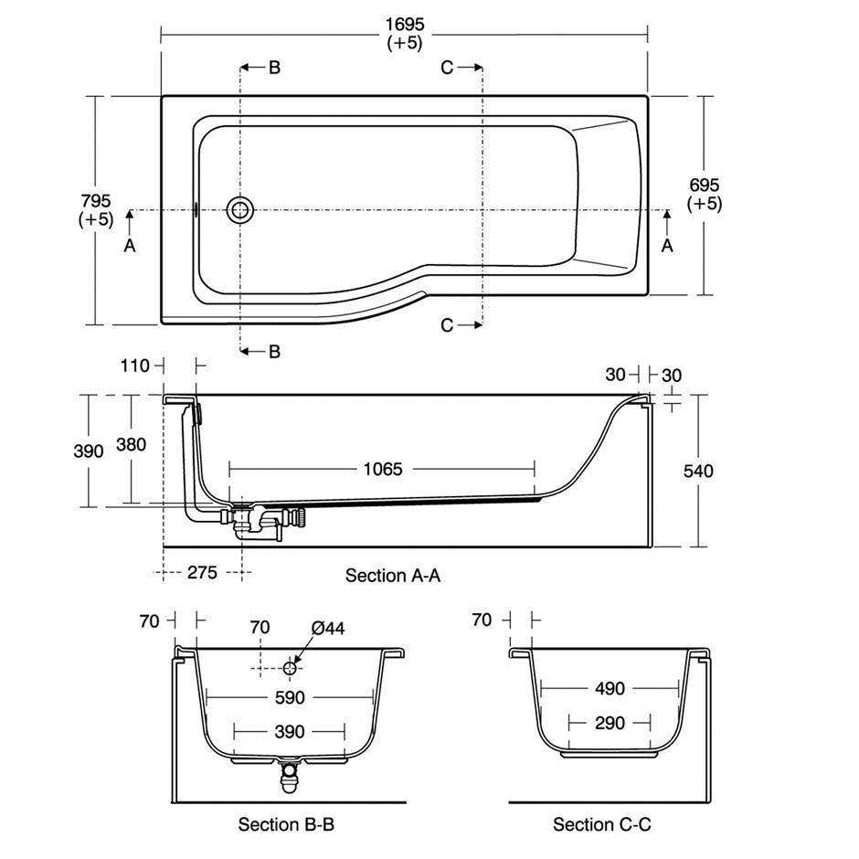 ideal standard concept air 1700 x 800mm left hand idealform shower ideal standard concept air 1700 x 800mm left hand idealform shower bath technical drawing qs v84333 e108101