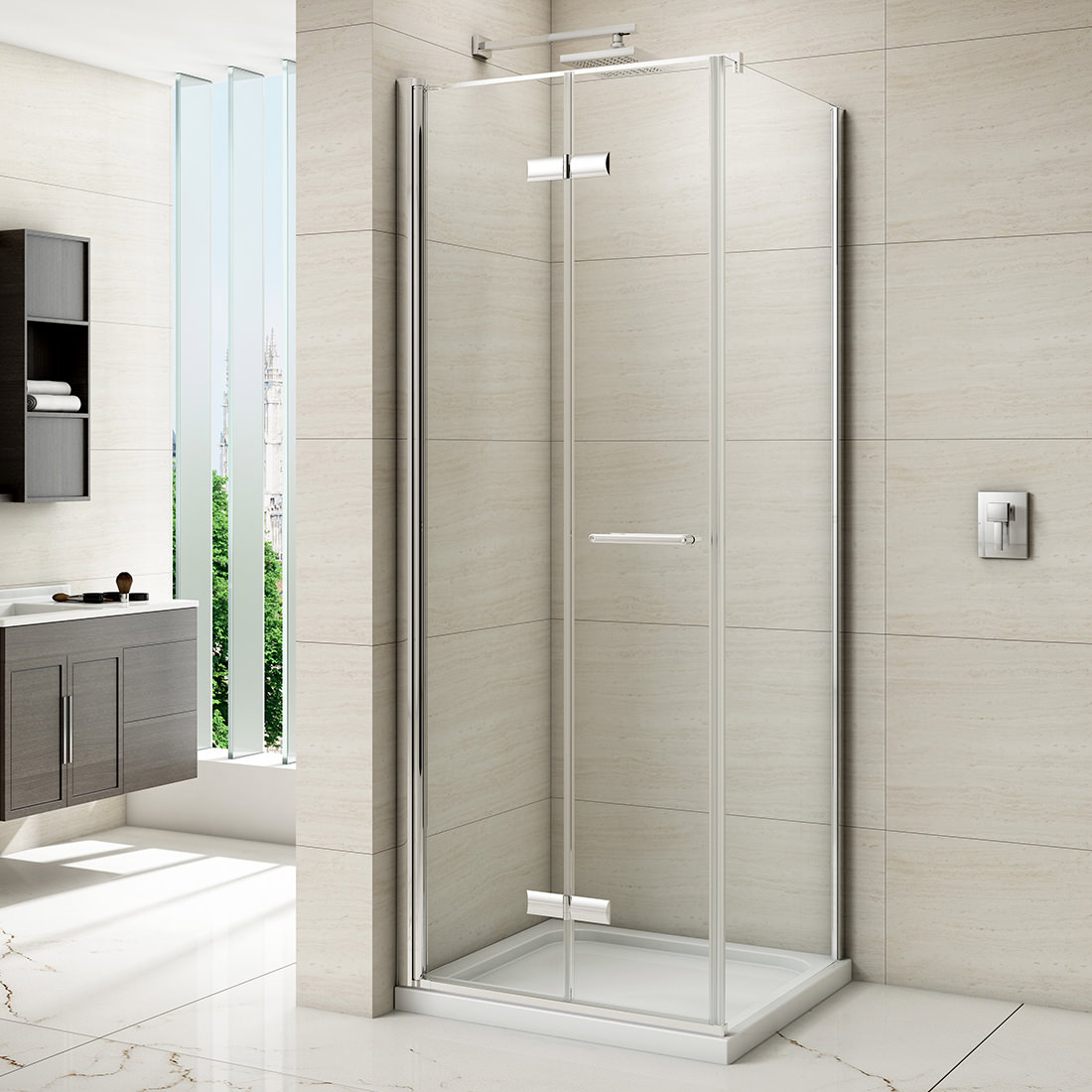 merlyn 8 series frameless hinged bifold shower door 1000mm