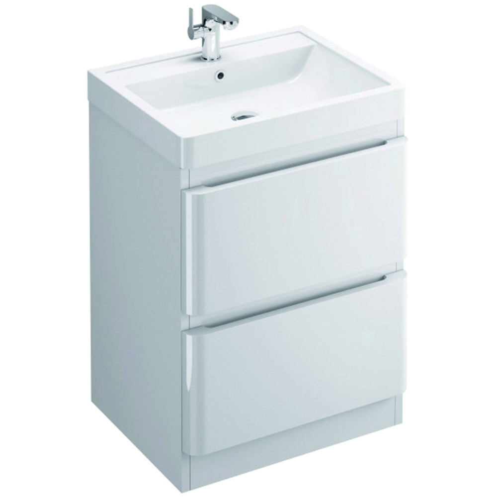 Pura Flite 900mm Double Drawer Floor Standing Unit And Basin | FL90DDFMC