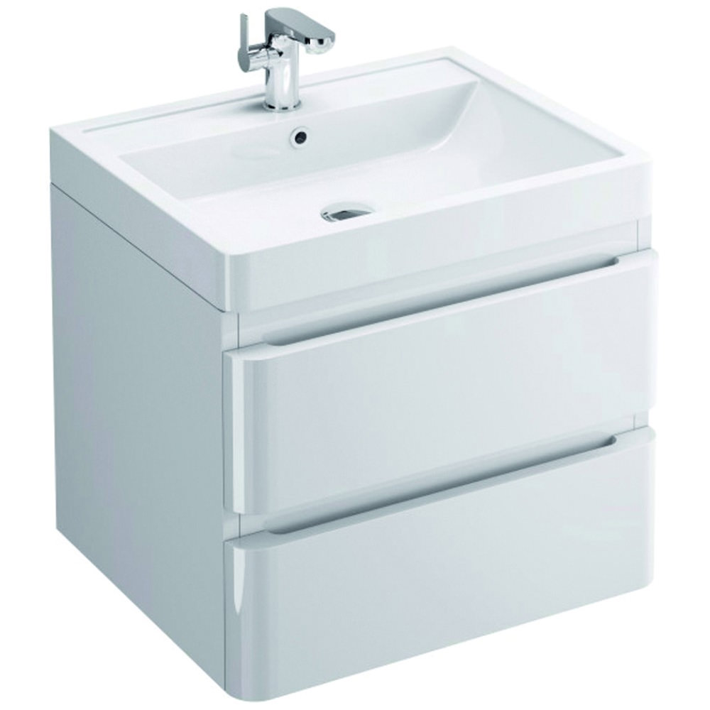 Pura Flite Wall Hung Double Drawer Unit And Basin | FL60DDWMC - More ...