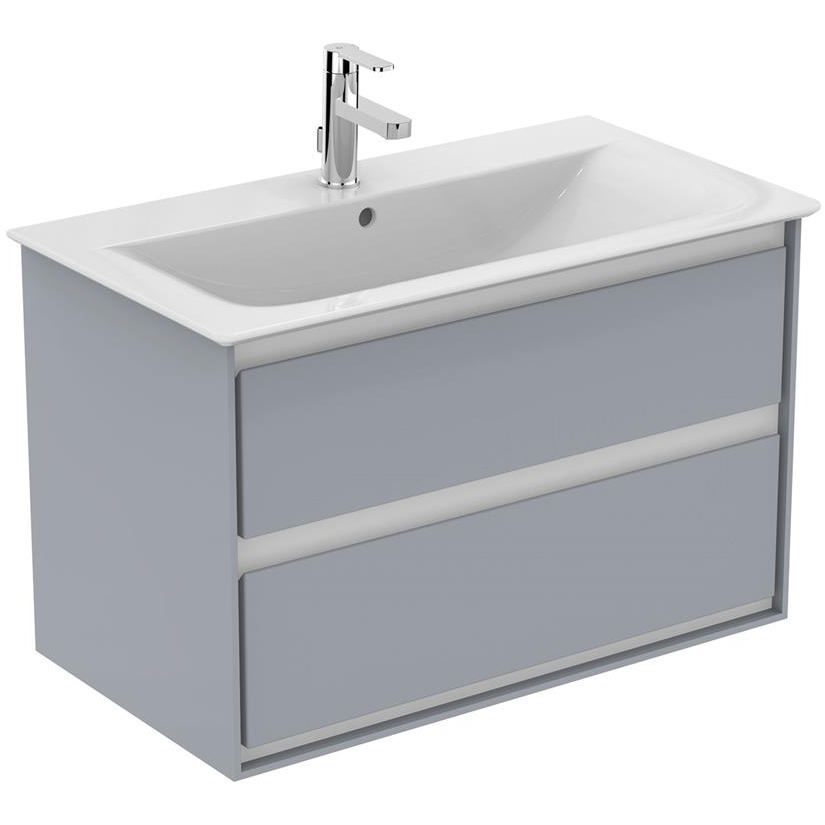 promo code 49eb3 42096 Ideal Standard Concept Air 800mm Wall Hung 2 Drawers Gloss Grey Vanity Unit