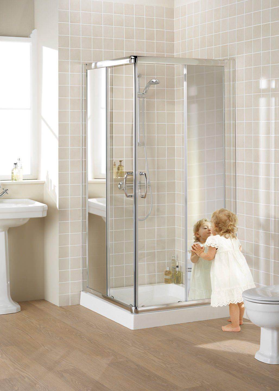 Lakes Mirror Glass 900mm Semi Frameless Corner Entry Shower Enclosure